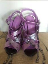 BCBGeneration Miel Purple/Black Snakeskin Print Strap Sandal Heel Size 8 (NIB)