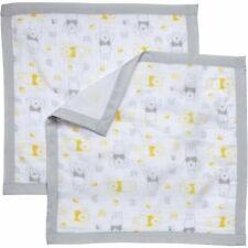 NWT Disney Baby Yellow Grey White Winnie The Pooh Muslin Security Blanket -2Pk