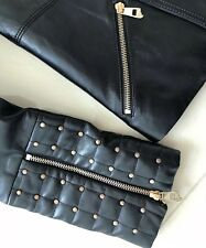Versace BLACK Studded Womens Leather Crop Jacket. Size 42/US 4-6. Brand New.