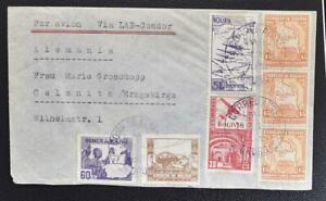BOLIVIA to GERMANY 1939s Richly Franked LAB-Condor Airmail Flight Cover ORURO to