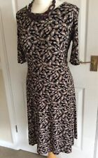 Next  Brown Butterfly Wing Viscose Dress Size 10 Stretchy Autumn Dress