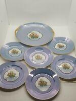 Vintage Noritake Nautical Ship Plates Compote Dish + 6 Plates, Extremely Rare!
