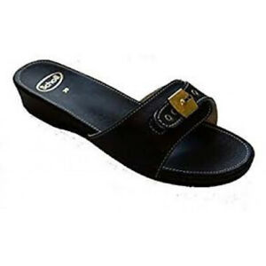 Scholl Leather Look Low Sandals - Black