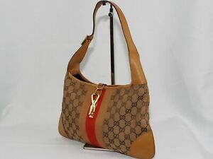 【Rank B】Auth Gucci Jackie Canvas Shoulder Hand Bag Vintage From Japan A112