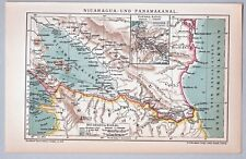 Alte Karte, Nicaragua - und Panamakanal - Lithographie 1904