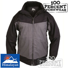 Waterproof Breathable Black Grey Work Jacket Coat Foldaway Hood Trade Outdoor