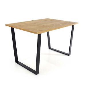 Pine Antique Waxed Large Rectangular Dining Table Stylish Black Metal Legs