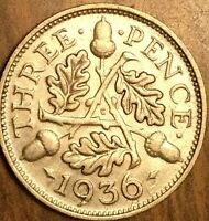 1936 UK GREAT BRITAIN SILVER THREEPENCE