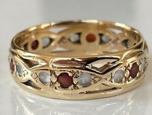 SUPERB VINTAGE 9CT GOLD ETERNITY WEDDING BAND RING SET WHITE SAPPHIRES & GARNETS