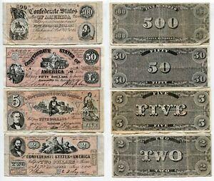 4 Banknoten Confederate States of America, gebraucht    #13