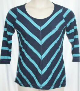 Tommy Bahama Women's Blouse Blue Cheveron Stripe Stretch 3/4 Sleeve Top XS