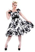 1950's Vintage Black Rose Print Cotton Rockabilly Party Prom Tea Dress 8 - 18
