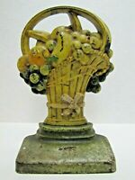 FRUIT BASKET Antique Cast Iron Doorstop Decorative Arts Statue Door Stopper