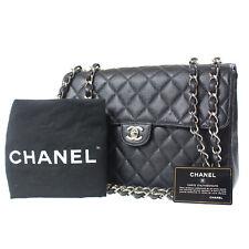 Chanel Matelasse Imbottito Catena Borsa a Tracolla Nera pelle Vintage Auth #E743