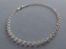 "Rolo Link 3.2mm Italy 925 New 10"" Italian Sterling Silver Ankle Bracelet"