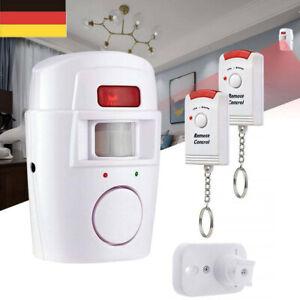 Bewegungsmelder PIR Alarmanlage mit 2x IR-Fernbedienung Hausalarm Alarm Sirene