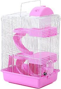 3-Tier Travel Cage for Small Animals with Handle Exercise Wheel Water Food Bowl