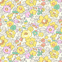 Liberty ~ Betsy W Yellow Tana Lawn Fabric / quilting dressmaking nursery floral