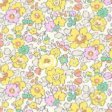 Liberty ~ Betsy Tana Césped Tela Amarillo W/Confección Vivero floral de acolchar