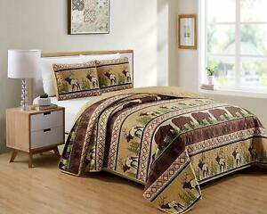 NEW! ~ COZY LODGE GREEN BROWN BEIGE MOOSE BEAR TREE COUNTRY LOG CABIN QUILT SET
