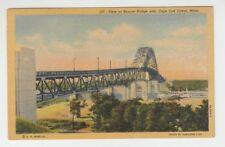 [65837] 1952 POSTCARD VIEW of BOURNE BRIDGE over CAPE COD CANAL, MASSACHUSETTS