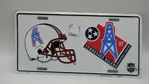 1997 Metal Embossed Front License Plate Car Tag Tennessee Oilers Inaugural NFL