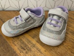 Stride Rite Jazzy Soft Motion Leather Sneaker Toddler Girl 5.5 W Silver & Purple