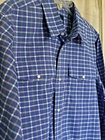Size 18-20 = MENS SMALL Wrangler Western Snap Cowboy Shirt Blue white Plaid NEW