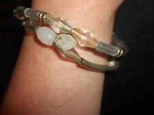 2 X PRETTY BEAD ELASTICATED BRACELETS SILVER TONE WITH CLEAR & OPAQUE BEADS