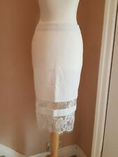 Topshop White Stretch Tube Skirt With Lace Panel Detailing Size 8 NEW