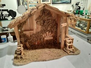 Vintage Wooden Christmas Manger Creche Nativity Stable