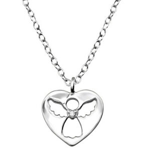 Girls sterling silver Angel pendant necklace sparkly fun dress-up