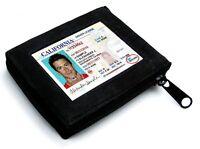BLACK ZIPPER LEATHER MEN BIFOLD MEN'S  WALLET 8 CARD Flap Zip Around Safe