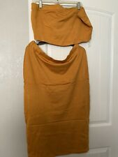Almost Famous - Mustard Yellow Ribbed Tube Top And Skirt - Plus Size 2X