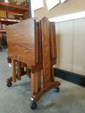 Amish Furniture - Oak Folding TV Tray Set with Storage Stand - Made in USA