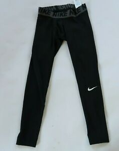 Nike Boys Stretch Polyester Dri Fit Black Compression Activewear Pants Youth M