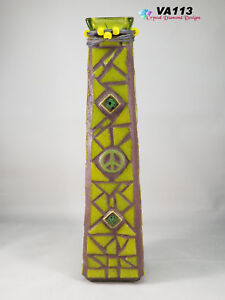 Tall Green Peace Glass Vase Mosaic Handmade by the Artist  VA113