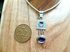 Jungenstil Style Sterling Silver and Amethyst Necklace February Birthstone