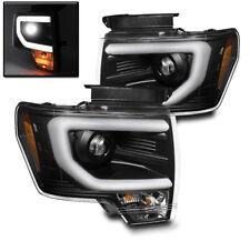 2009-2014 FORD F-150 PICKUP FRONT DRL STRIP BAR PROJECTOR HEAD LIGHTS LAMP BLACK