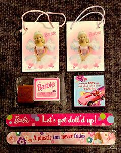 Barbie Adult Nail Files, Magnet, Stamp & Ink Pad, Mini Bags, Vintage 1990's NEW