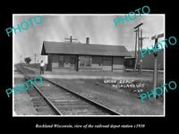 OLD LARGE HISTORIC PHOTO OF ROCKLAND WISCONSIN, THE RAILROAD DEPOT STATION c1930