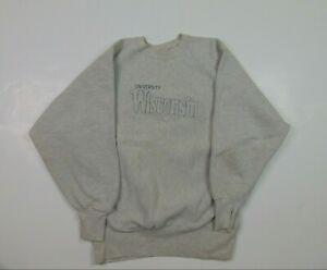 VTG Champion Adult L Reverse Weave Sweatshirt Wisconsin Badgers Gray College 90s