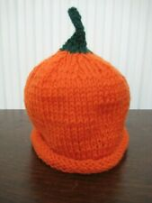 Carefully Hand Knitted Halloween Baby Pumpkin Hat Age 0-3 Months
