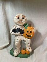 Vintage Hand Painted CERAMIC HALLOWEEN DECOR Figurine MUMMY Holding Bat Pumpkin