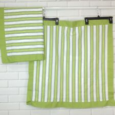 Martha Stewart 2 Euro Pillow Shams Spring Green White Striped One Pair Bordered