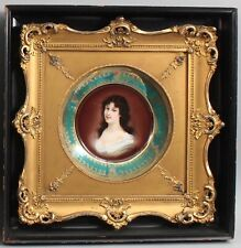 Antique Porcelain Portrait Plate w/ Ornate Gold Gilt Frame & Shadow Box