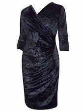 EVANS GRACE LUXURIOUS BLACK VELVET FAUX WRAP DRESS 10% LYCRA 18 20 22 24 26 28.