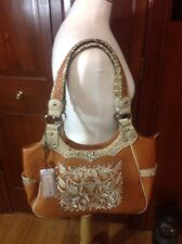 Embroidery Brown Western flower Handbag with match Wallet
