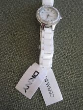 DKNY White Dial White Ceramic Ladies Watch with crystals