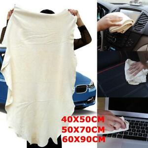 Large Natural Chamois Leather Car Cleaning Cloth Absorbent 90*60cm Towel X3H2